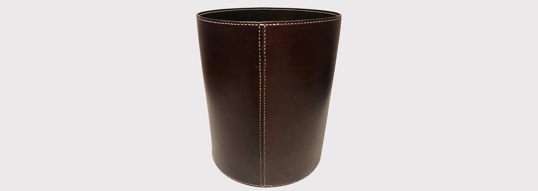 Papirkurv i læder